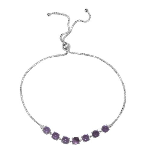 Amethyst (Rnd) Bracelet (Size 6.5-9.0 Adjustable) in Sterling Silver 4.00 Ct.
