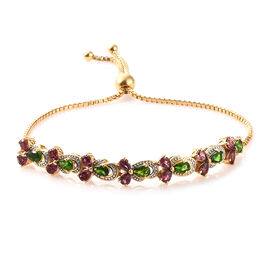 GP Rhodolite Garnet (Pear 2.28 Ct), Russian Diopside and Kanchanaburi Blue Sapphire Adjustable Bracelet (Size  6.5 to 9.5)  in 14K Gold Overlay Sterling Silver 4.000 Ct, Silver wt 8.37 Gms.