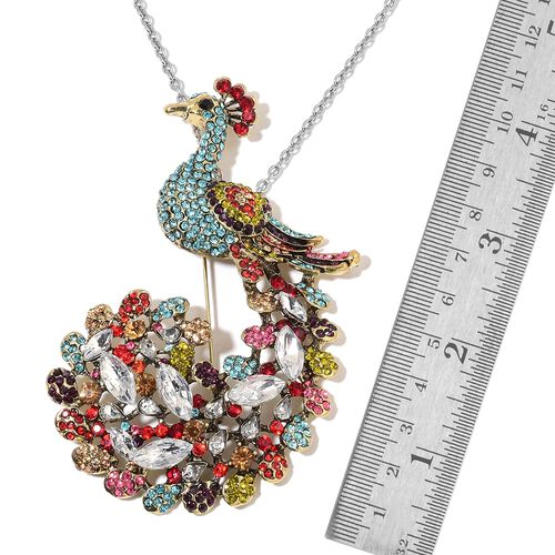 Multicolor Austrain Crystal Peacock Brooch or Pendant with Chain (Size 24) in Stainless Steel