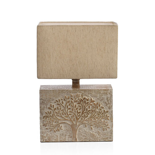 NAKKASHI -Solid Wood Hand Carved Tree of Life Table Lamp in Antique White Finish (Lamp Shade Included)