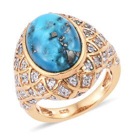 6.75 Ct Persian Turquoise and Cambodian Zircon Ring in Gold Plated Sterling Silver 7.30 Grams