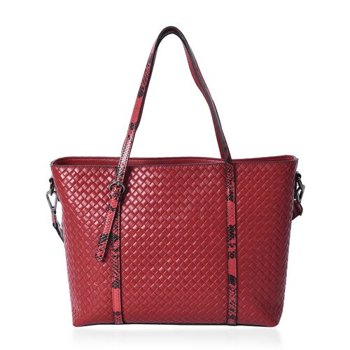 100% Genuine Leather Snake Print and Quilted Pattern Tote Bag with Detachable Shoulder Strap and Zipper Closure (Size 32x12x26 Cm) - Red