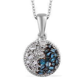 Blue and White Diamond (Bgt) Pendant With Chain (Size 20) in Platinum Overlay Sterling Silver 0.200 Ct.