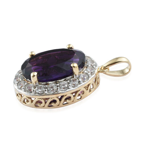 Signature Collection - 9K Yellow Gold AAAA Moroccan Amethyst (Ovl 6.00), Natural Cambodian Zircon Pendant 7.250 Ct.