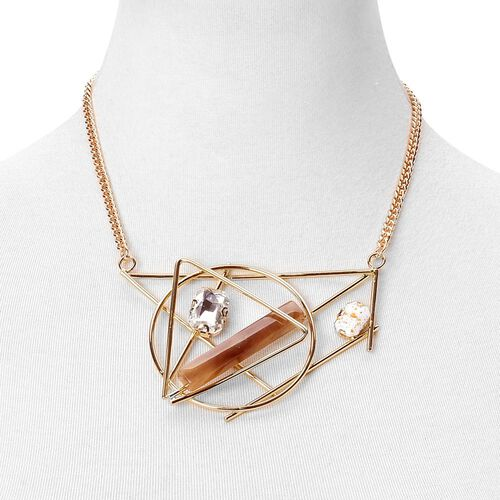 Simulated Smoky Quartz and Simulated White Diamond Geometric Necklace (Size 20 with 1.5 inch Extender) in Yellow Gold Tone