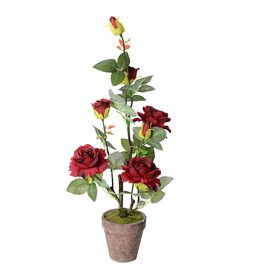 Home Decor Artificial Red Rose with Pot  (Size:11.5x11.5x63cm)