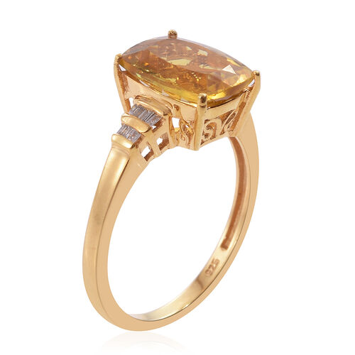Rare Golden Canary Apatite (Cush 4.40 Ct), Diamond Ring in 14K Gold Overlay Sterling Silver 4.500 Ct.