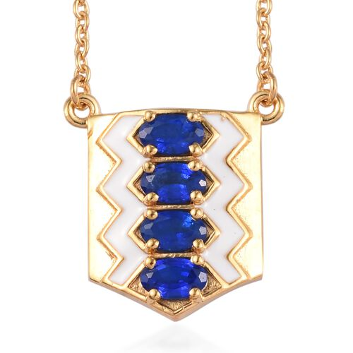 Tanzanian Blue Spinel Enamelled Necklace (Size 18) in 14K Gold Overlay Sterling Silver 1.00 Ct.