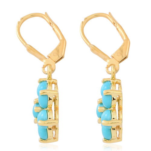 Arizona Sleeping Beauty Turquoise (Rnd) Floral Lever Back Earrings in 14K Gold Overlay Sterling Silver 2.500 Ct.