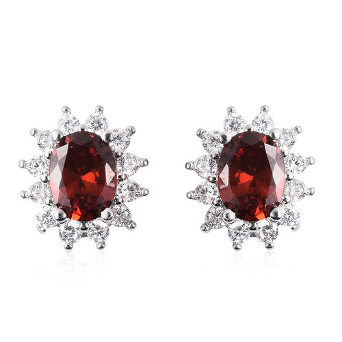 3 Piece Set - Mozambique Red Garnet and Simulated Diamond Sunburst Theme Ring, Stud Earrings (with Push Back) and Pendant with Chain (Size 20 with 2 inch Extender) in Silver Tone