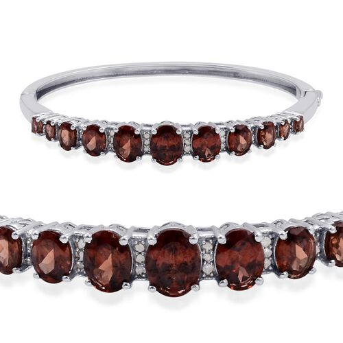 Designer Collection Umba River Zircon (Ovl), Diamond Bangle in Platinum Overlay Sterling Silver (Size 7.5) 14.725 Ct.