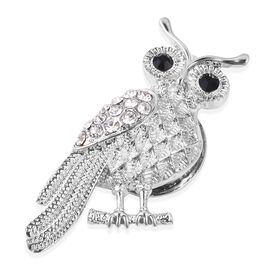 White and Black Austrian Crystal Owl Magnetic Brooch in Silver Plated