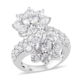 J Francis - Platinum Overlay Sterling Silver (Rnd) Twin Flower Bypass Ring Made with SWAROVSKI ZIRCO