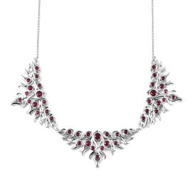 LucyQ Flame Collection - African Ruby (FF) Necklace (Size 20) in Rhodium Overlay Sterling Silver 10.