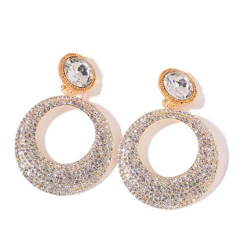 Simulated White Diamond and White Austrian Crystal Earrings (with French Clip) in Yellow Gold Tone