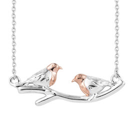 Rose Gold and Platinum Overlay Sterling Silver Bird Necklace with Chain (Size 18)