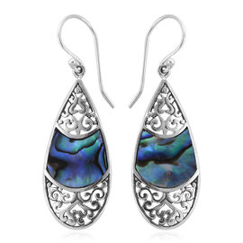 Royal Bali Collection Abalone Shell Drop Hook Earrings in Sterling Silver, Silver wt 3.10 Gms.