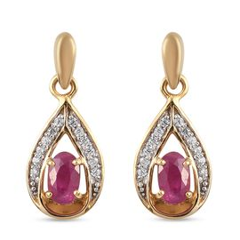 Burmese Ruby and Natural Cambodian Zircon Drop Earrings (With Push Back ) in 14K Gold Overlay Sterli