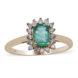 9K Yellow Gold Zambian Emerald and Diamond Ring 1.16 Ct.