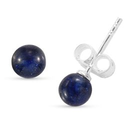 Blue Sapphire Ball Stud Earrings (with Push Back) Sterling Silver 4.75 Ct.
