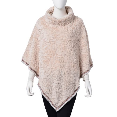 Rose Pattern Faux Fur Poncho - Off White (One Size)