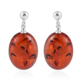 Baltic Amber Solitaire Drop Earrings with Push Back in Silver