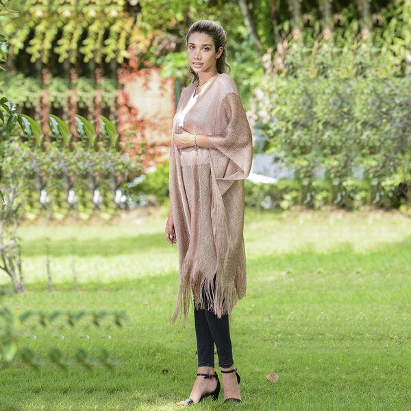 JOVIE Lurex Kimono with Tassel (Size:90x90cm) -Bronze