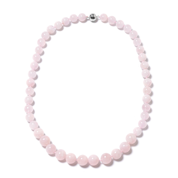 370.50 Ct Pink Morganite Beaded Necklace in Rhodium Plated Sterling Silver 20 Inch