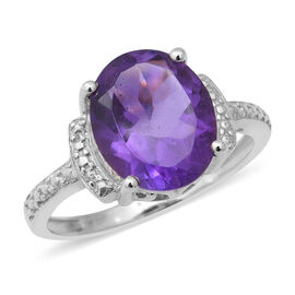 Zambian Amethyst (Ovl 12x10 mm) Ring in Rhodium Overlay Sterling Silver 4.10 Ct.