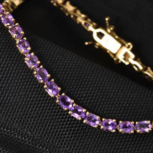 Amethyst (Ovl) Tennis Bracelet (Size 7.5) in 14K Gold Overlay Sterling Silver 6.750  Ct., Silver wt 7.45 Gms.