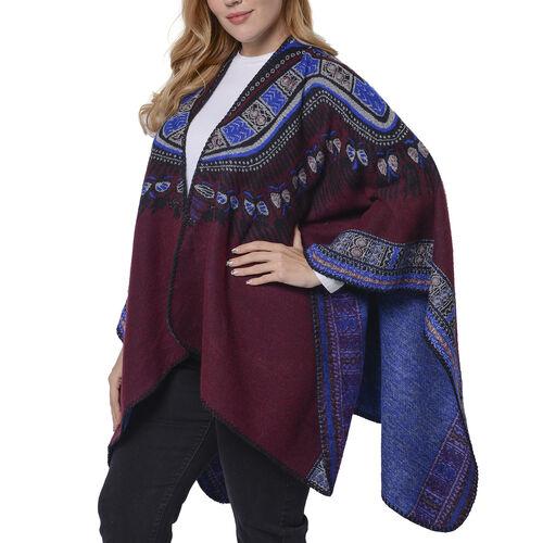 Designer Inspired- Red Colour Santa Fe Pattern Kimono (Size 132x72 Cm)