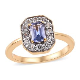 Tanzanite (Oct), Natural Cambodian Zircon Ring in 14K Gold Overlay Sterling Silver 1.00 Ct.