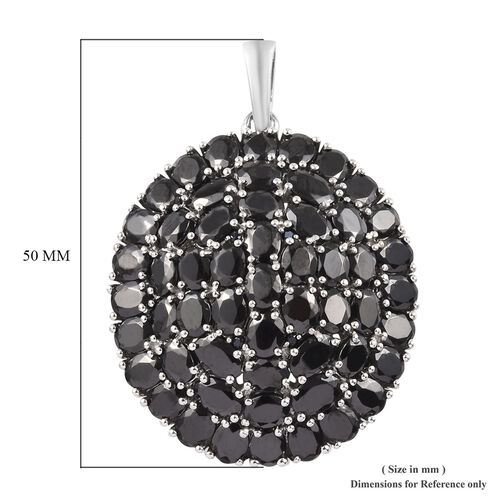 Elite Shungite and Boi Ploi Black Spinel Cluster Pendant in Platinum Overlay Sterling Silver 13.73 Ct, Silver wt 12.24 Gms