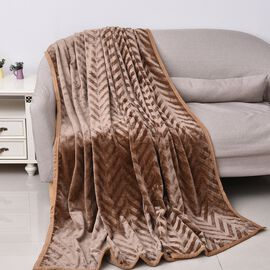Zig-zag Pattern Luxurious Microfibre Blanket with Piping (Size 200x230 Cm) - Brown