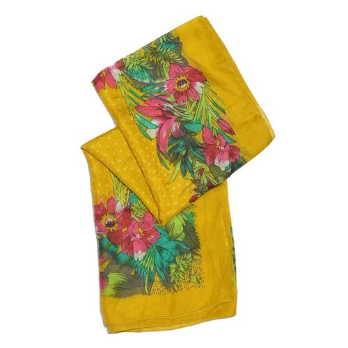 100% Mulberry Silk Yellow, Pink and Multi Colour Handscreen Floral and Leaves Printed Scarf (Size 200X180 Cm)