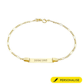 9CT Gold 60 Hollow Figaro ID Bracelet, Size 7 Inch