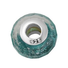 Charmes De Memoire Teal Murano Glass Bead Charm in Platinum Plated Sterling Silver