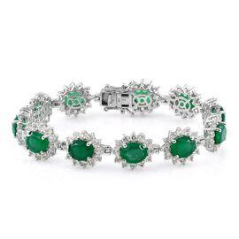 Verde Onyx (Ovl), White Topaz Bracelet (Size 7.25) in Platinum Overlay Sterling Silver 29.000 Ct. Si
