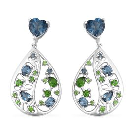 RACHEL GALLEY 5.59 Ct London Blue Topaz and Russian Diopside Earrings in Sterling Silver 5.59 Grams