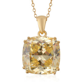 ELANZA Swiss Star Simulated Canary Diamond (Cush 15x15 mm) Pendant with Chain (Size 18) in Yellow Go