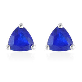 Diffused Blue Spinel Earring in Platinum Overlay Sterling Silver 0.19 ct  1.050  Ct.