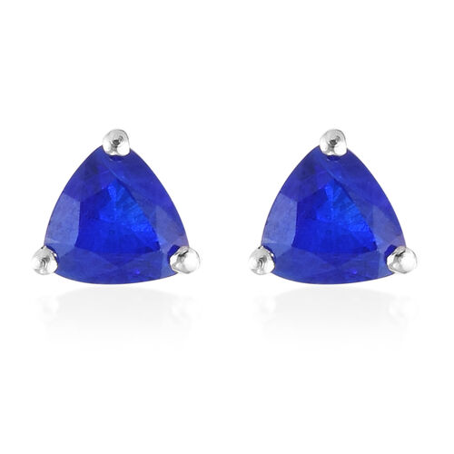 Tanzanian Blue Spinel Earrings (with Push Back) in Platinum Overlay Sterling Silver 1.05 Ct.