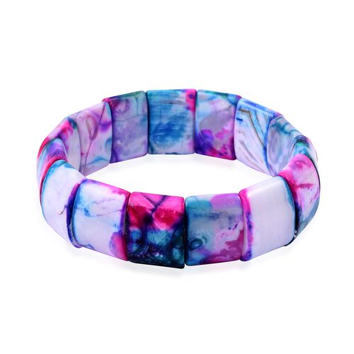 Pink, Blue and Multi Colour Agate (Cush 20X15 mm) Stretchable Bracelet (Size 7.5)  323.500 Ct