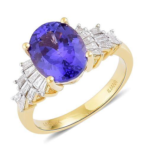 ILIANA 18K Yellow Gold AAA Tanzanite (Ovl 4.00 Ct), Diamond (SI/G-H) Ring 4.500 Ct.