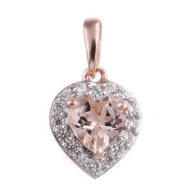 0.75 Ct Marropino Morganite and Zircon Halo Heart Pendant in Rose Gold Plated Silver