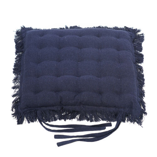 Set of 2 - 100% Cotton Cover and Filled Chair Pads with Fringes (40x40x3cm) - Navy