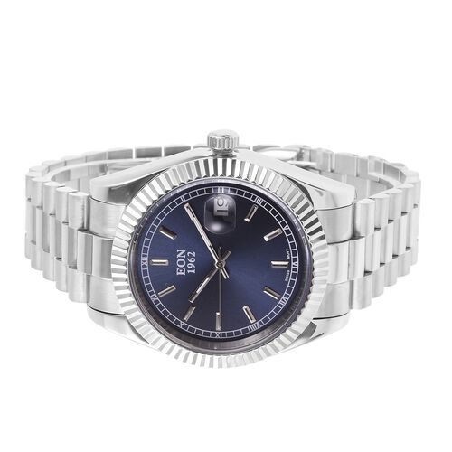 EON 1962 Swiss Movement Blue Dial Sapphire Glass 3ATM Water Resistant Watch in Silver Tone with Stainless Steel