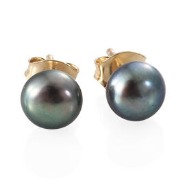 9K Yellow Gold Fresh Water Peacock Pearl (Rnd) Earrings