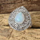 Limited Available- Ethiopian Welo Opal (Pear 11x9 mm, 2.15 Ct), White Topaz Ring (Size N) in Platinum Overlay Sterling Silver 4.500 Ct, Silver wt 6.36 Gms.