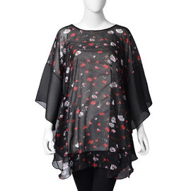 Flower Pattern Poncho (One Size Fits All; 70x80 Cm) - Black, Red and White